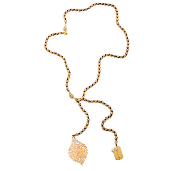 Gold play doh mood necklace
